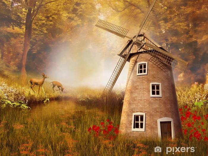 Fototapeta winylowa Jesienny krajobraz z wiatrakiem i sarnami - Młyny i wiatraki