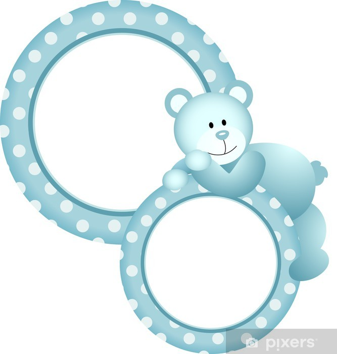 96611324f9b2 Baby boy round frame teddy bear Wall Mural • Pixers® • We live to change