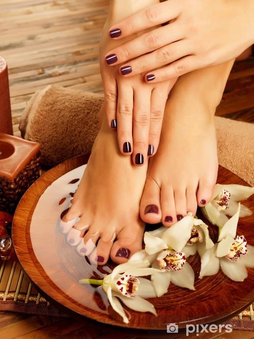 female feet at spa salon on pedicure procedure Vinyl Wall Mural - Destinations