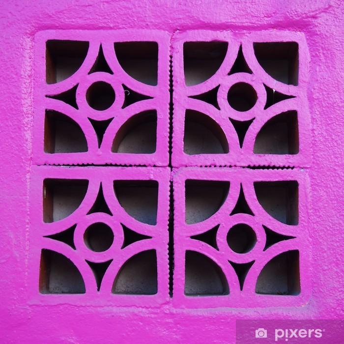 Vinylová fototapeta Růžová betonový blok na stěnu - Vinylová fototapeta