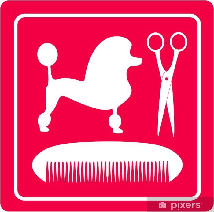 Fototapeta winylowa Pink grooming ikona z psem pudel, nożyczki i grzebień sylwetka - Moda