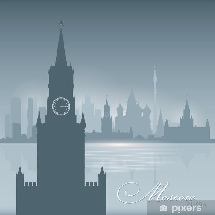Naklejka Pixerstick Moskwa Rosja panoramę miasta w tle sylwetka - Miasta azjatyckie