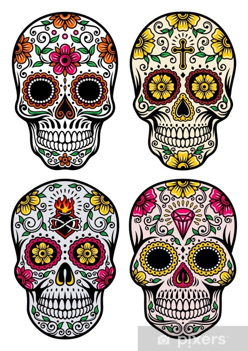 Sticker Pixerstick Day Of The Dead Skull Vector Set - Sticker mural