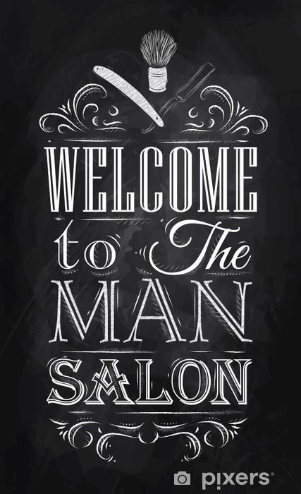 Sticker Pixerstick Affiche Barbershop bienvenue à l'homme salon dans un style rétro et -