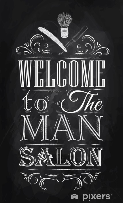 Poster Barbershop welcome to the man salon in a retro style and Vinyl Wall Mural -