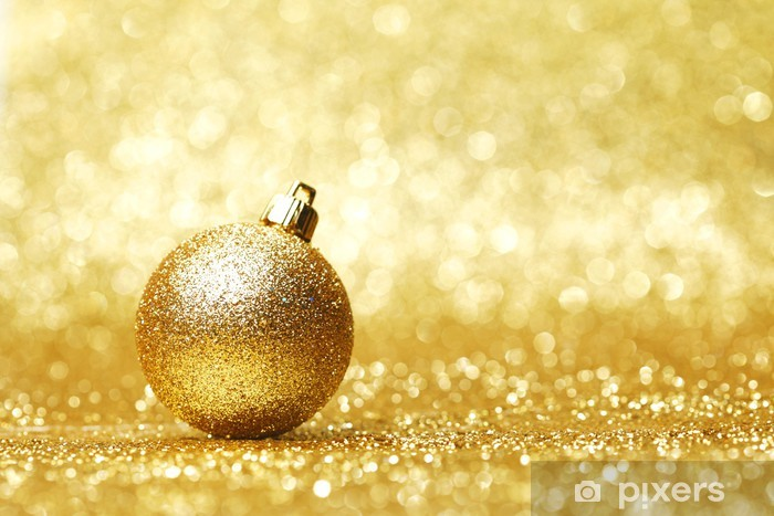 Fotobehang Gouden Kerstbal Pixers We Leven Om Te Veranderen