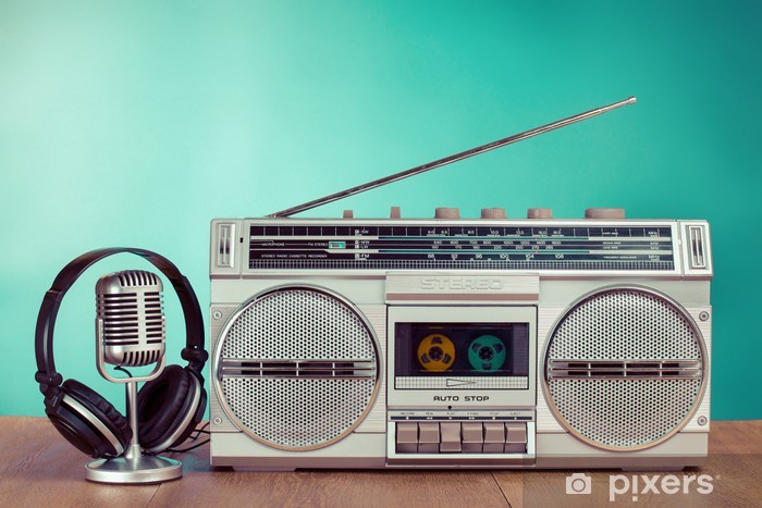 Retro radio and cassette player, headphones, microphone on table Vinyl Wall Mural - Signs and Symbols