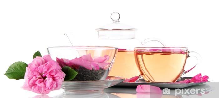 Nálepka Pixerstick Konvice a šálek čaje z čajové růže - Horké nápoje