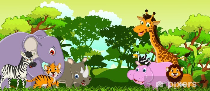 funny animal cartoon with tropical forest background Vinyl Wall Mural - Pupil