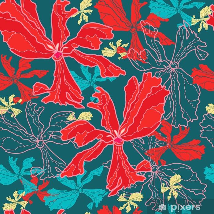 Plakat Kwiatowy szwu z czerwonych tulipanów - Tła