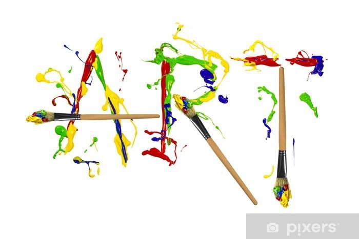 Fototapeta winylowa Farby i painbrushes malowane słowo sztuka - Sztuka i twórczość