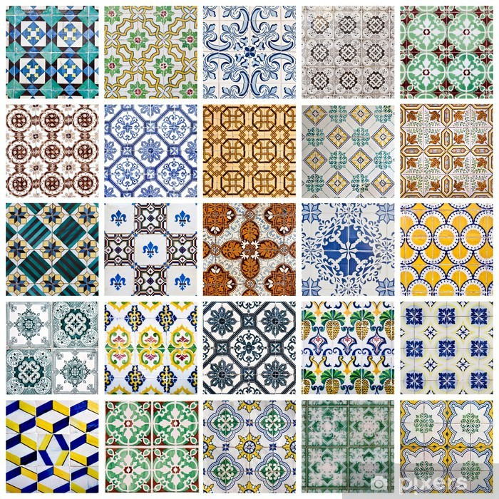 Portuguese Tiles Collage Vinyl Wall Mural - Other