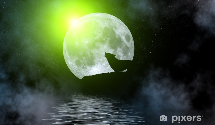 Naklejka Pixerstick Ilustracja wilka pod pełni księżyca - Tematy