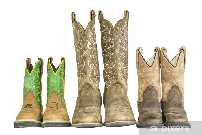 Vinyl Fotobehang Drie Paren Cowboy Western Boots - Mode