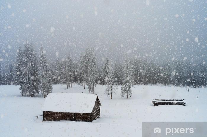 Papier peint vinyle Chutes de neige dans les montagnes - Saisons