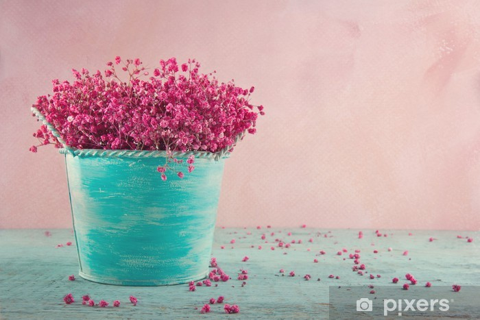 Fotomural Estándar Flores de la respiración del bebé rosados sobre fondo de madera - Flores