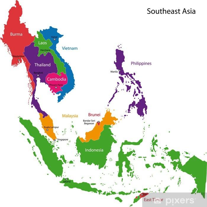 Papier peint vinyle Sud-est de la carte d'Asie - Thèmes