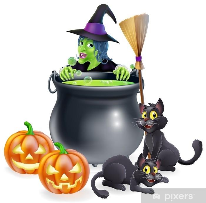 Nálepka Pixerstick Čarodějnice halloween scény - Kultura a náboženství