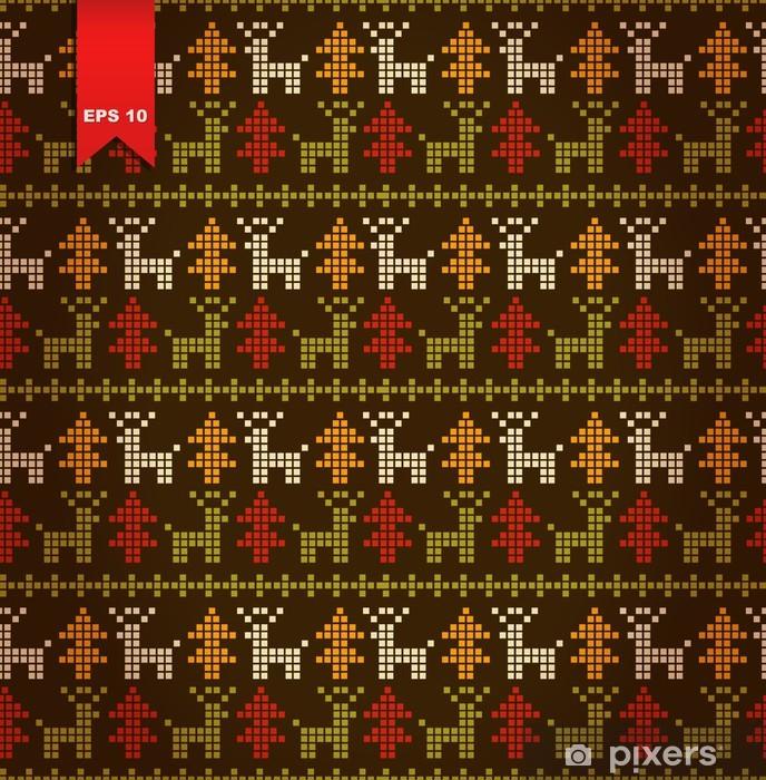 Carta da Parati in Vinile Seamless carino motivo stilizzato con alberi di Natale e cervi - Feste Internazionali