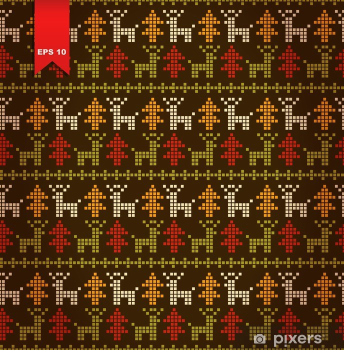 Fototapeta winylowa Seamless ładny stylizowany wzór z choinki i jelenie - Święta międzynarodowe