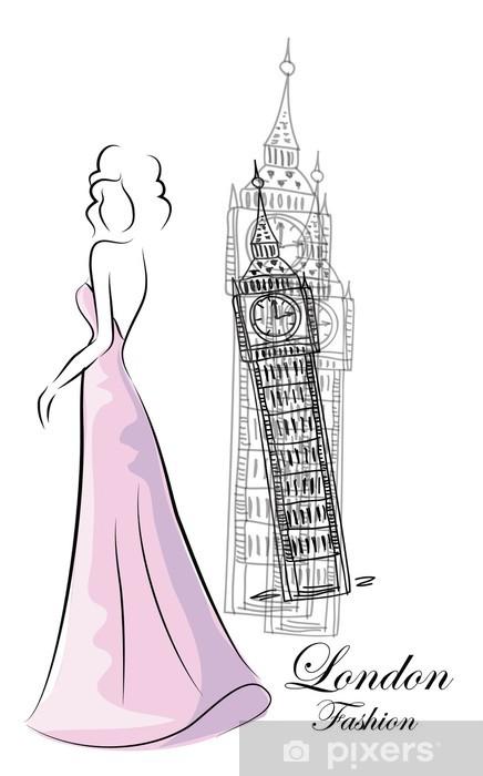 Naklejka Pixerstick Kobieta mody w pobliżu Big Ben - Moda