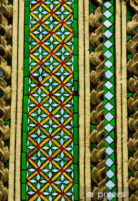 Thai ceramic and mosaic pattern of temple decoration Vinyl Wall Mural - Public Buildings