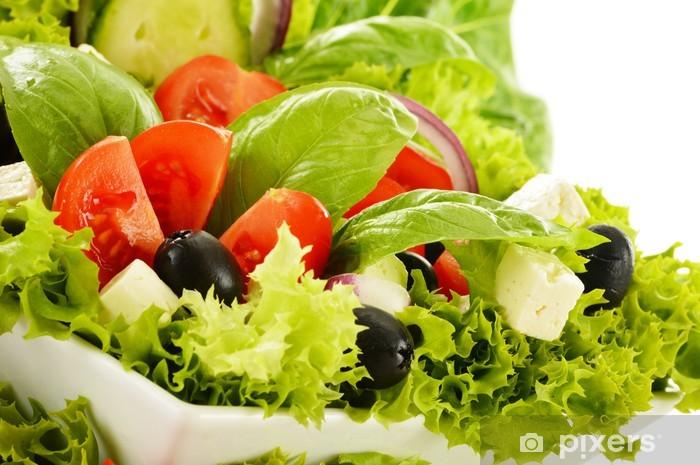 Naklejka Pixerstick Salaterki warzyw samodzielnie na białym tle - Posiłki