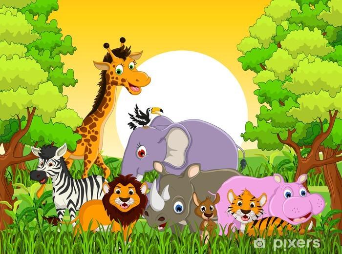 Naklejka Pixerstick Cute zwierząt dzikich zwierząt z lasu tle - Dla ucznia