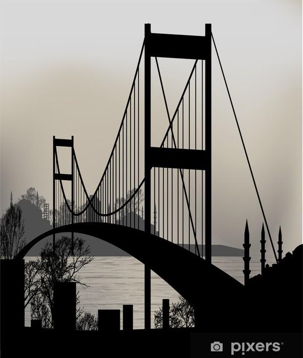 Papier peint vinyle Silhouette d'Istanbul et le pont du Bosphore - Styles