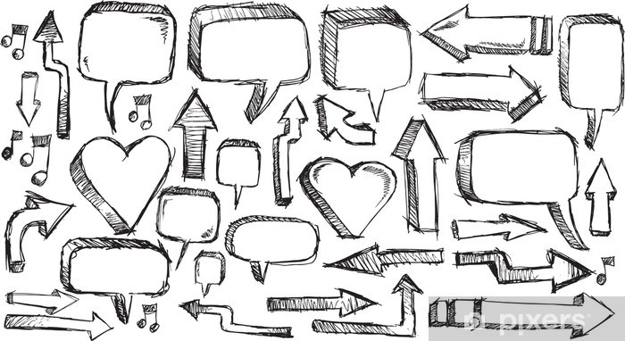 Sketchy doodle Arrows and Speech bubble Vector Illustration Set Vinyl Wall Mural - Signs and Symbols