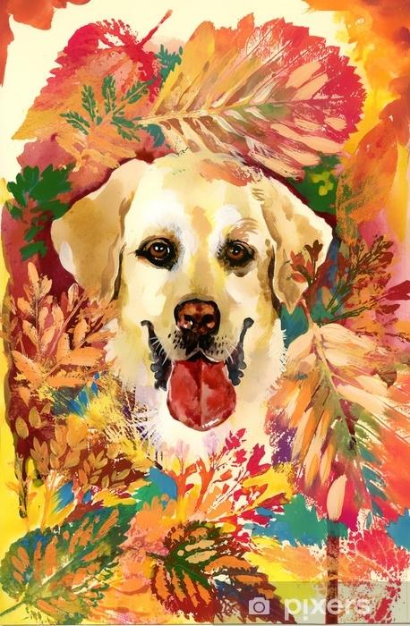 Papier peint vinyle Chien d'automne. illustration dessinée à la main - Passe-temps et loisirs