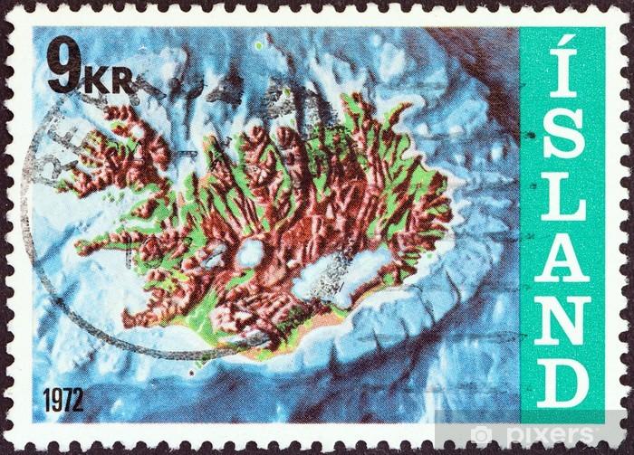 Papier peint vinyle Islande contour carte et le plateau continental (Islande, 1972) - Objets et accessoires