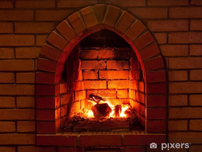 fire in fireplace Vinyl Wall Mural - Fireplace