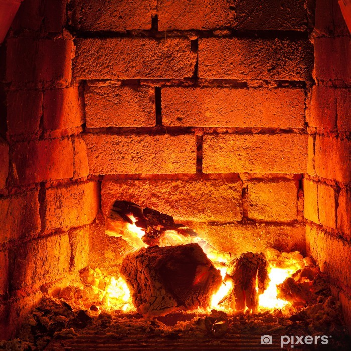 fire in fireplace Vinyl Wall Mural - Themes