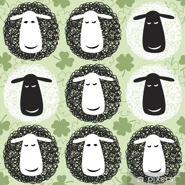 Poster Seamless avec des moutons de bande dessinée. - Mammifères