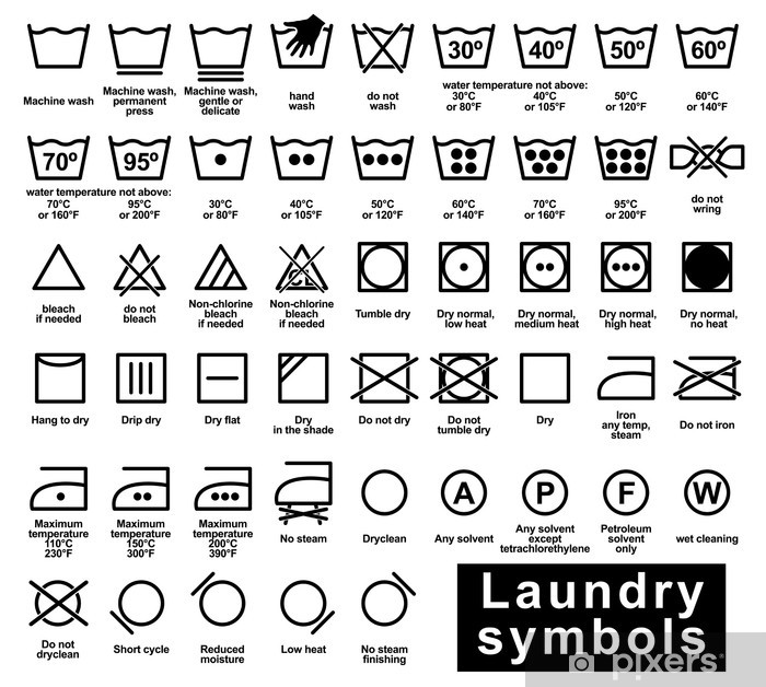 a14969da Pixerstick-klistremerke Ikon sett med vaskerymboler - Tegn og Symboler