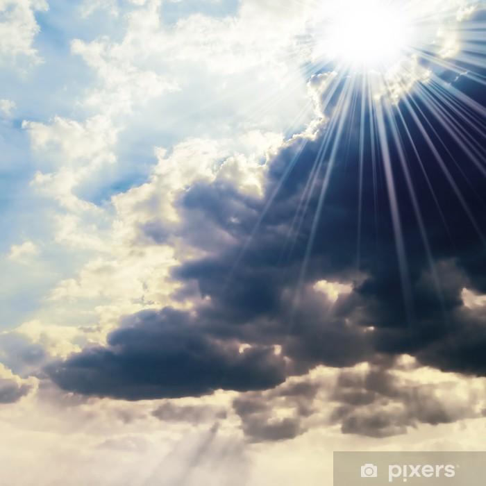 Papier peint vinyle Soleil sur le ciel orageux - Ciel