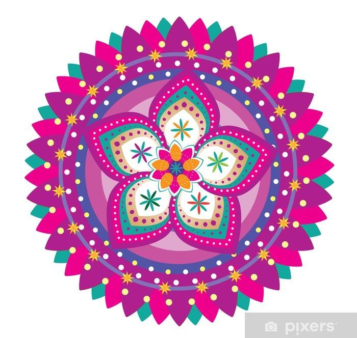 Naklejka Pixerstick Wzór kwiatowy ornament (styl mandala) - Naklejki na ścianę