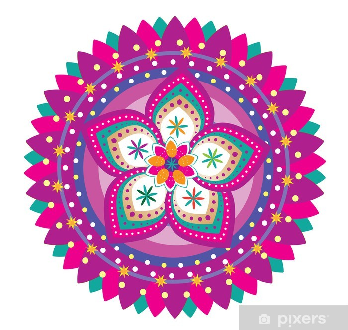 Papier peint vinyle Ornement de motif de fleur (de style de mandala) - Sticker mural