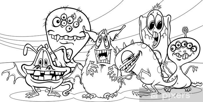 Fototapete Comic Monster Gruppe Ausmalbilder