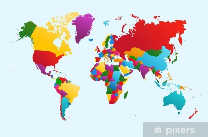 Afwasbaar Fotobehang Wereldkaart, kleurrijke landen illustratie EPS10 vector bestand. -