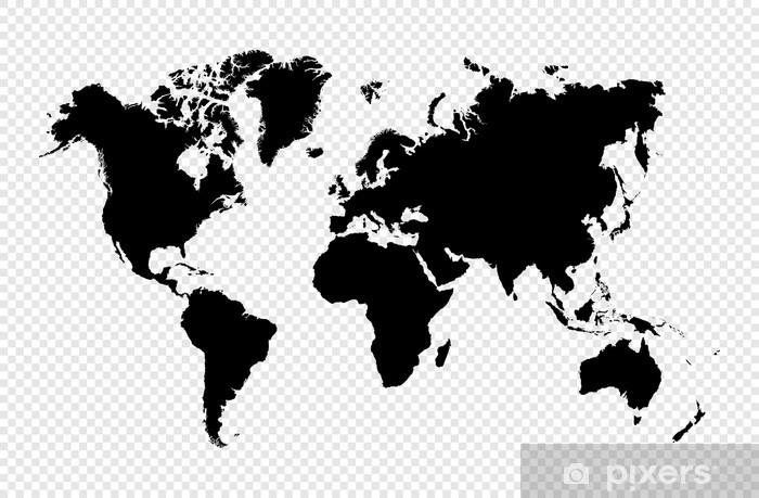 Carta da Parati in Vinile Nero silhouette isolato World map file vettoriale EPS10. - Stili