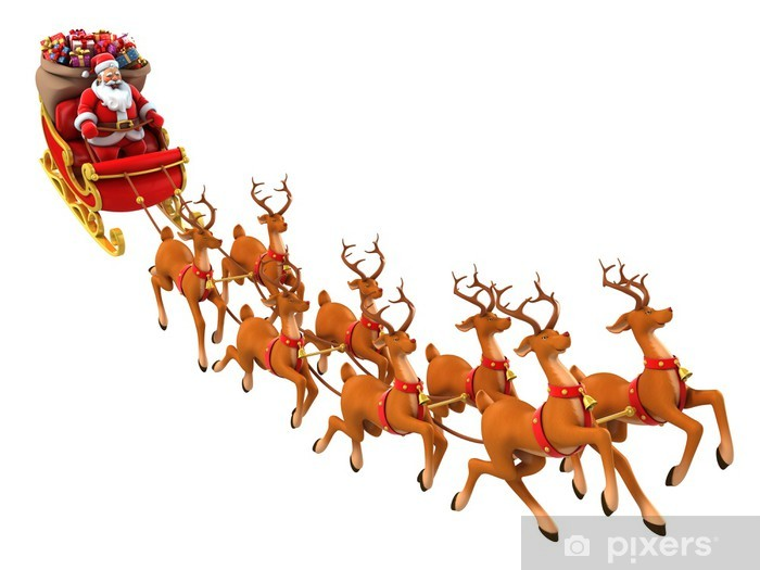 Spiksplinternieuw Fotobehang Kerstman rijdt rendieren slee op Kerstmis • Pixers JN-18