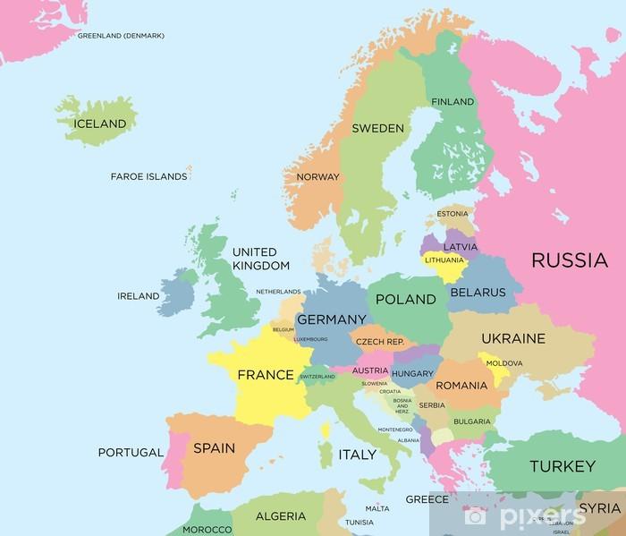 Papier peint vinyle Coloré carte politique de l'Europe - Thèmes
