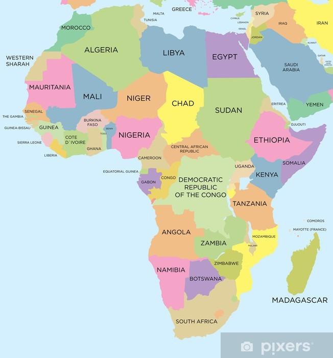Afrikan Varillinen Poliittinen Kartta Pixerstick Tarra Pixers