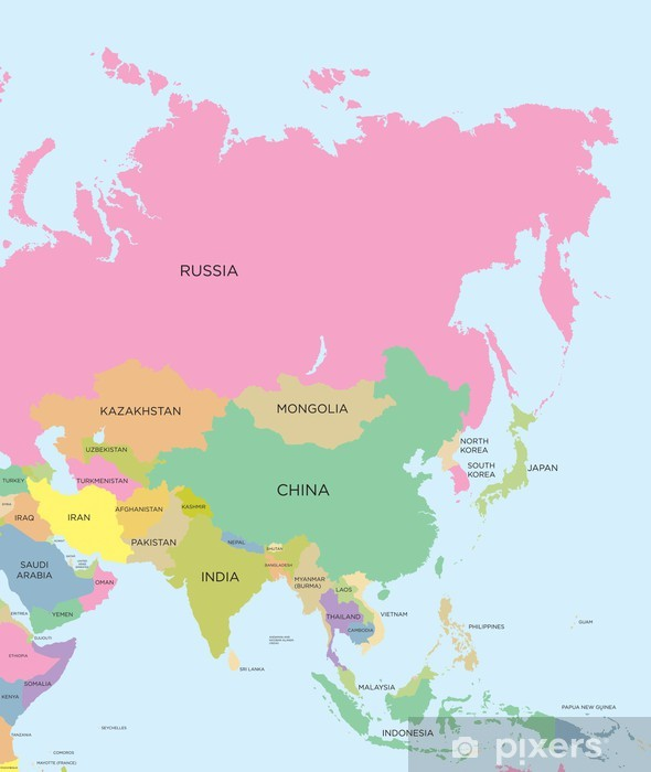 Cartina Politica Asia Europa.Carta Da Parati Colorata Mappa Politica Dell Asia Pixers Viviamo Per Il Cambiamento