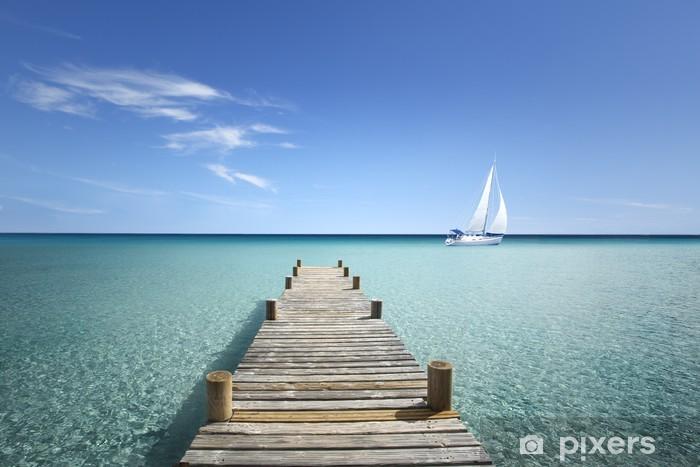 Fototapeta winylowa Drewniany chodnik na moim morzu - Wakacje