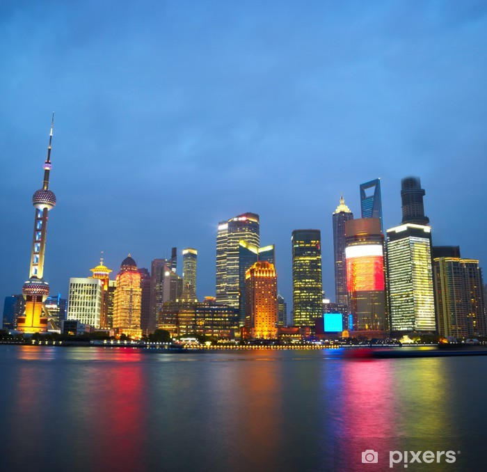 Plakat Wieżowce Szanghaju. Klasyczny widok z zapory - Miasta azjatyckie