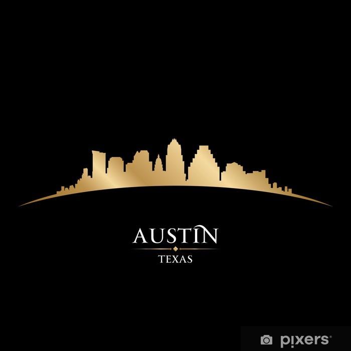 Plakát Austin Texas panorama města silueta černé pozadí - Amerika