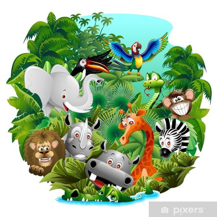 Mural De Parede Animais Selvagens Em Desenhos Animados Jungle